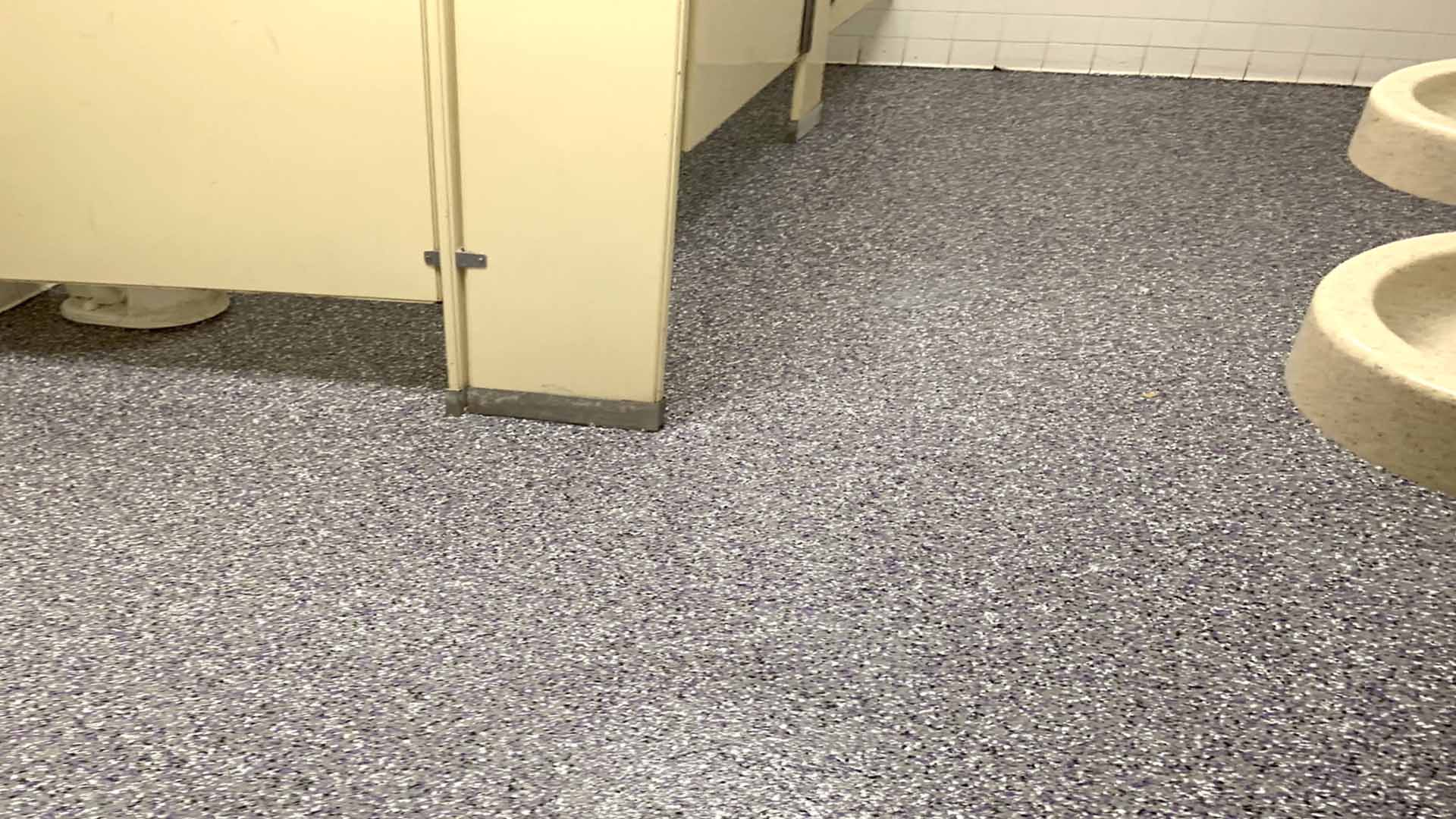 public restroom flake floor AFTER